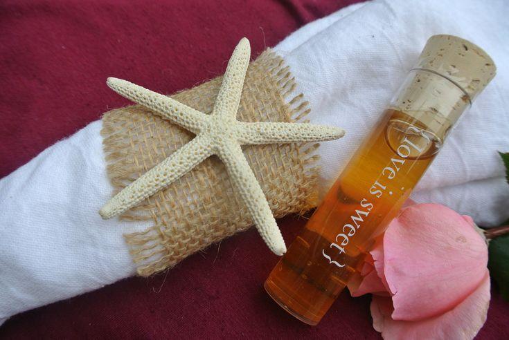 Burlap and Starfish napkin decoration
