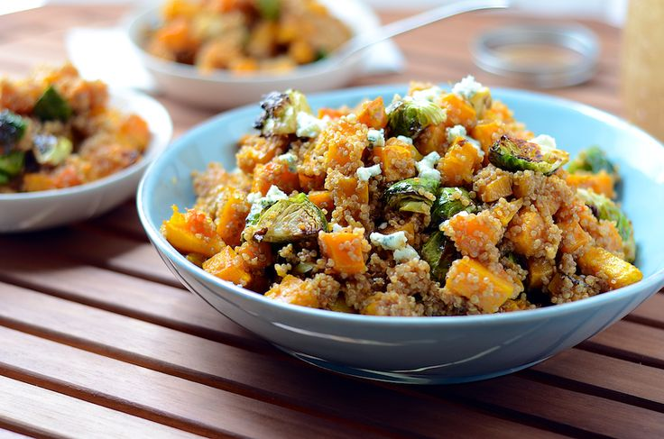 Warm Butternut Squash and Quinoa Salad (with Balsamic Blue Cheese Dressing).  Long title, easy and delicious #vegetarian meal ;)