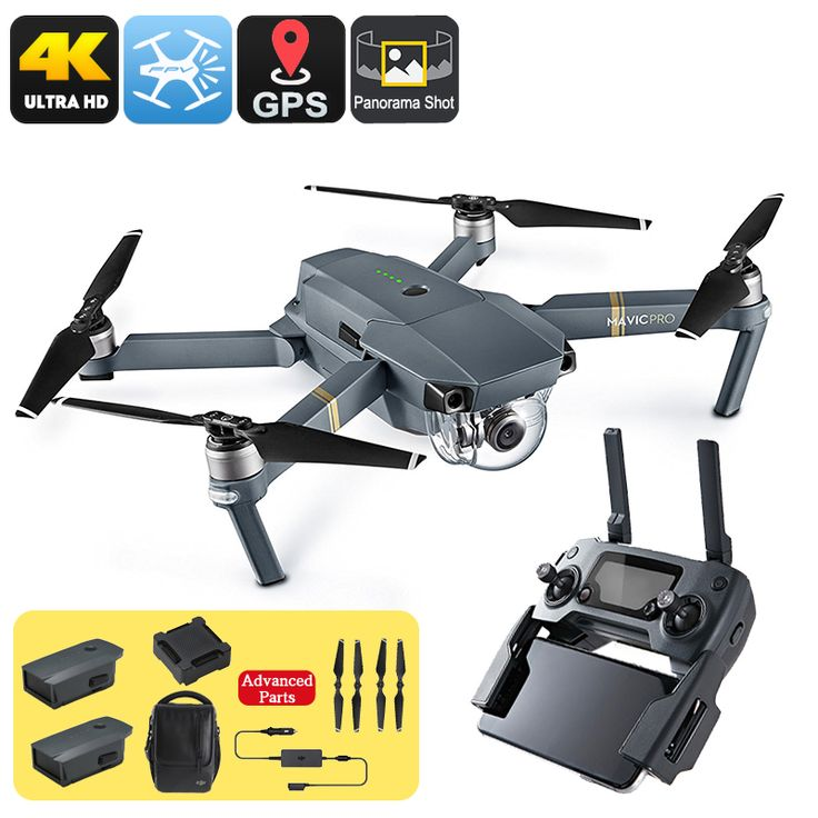 Combo Pack DJI Mavic Pro Camera Drone with 3 extra batteries, spare propellers, charger and carry pack. everything you need for great aerial photography