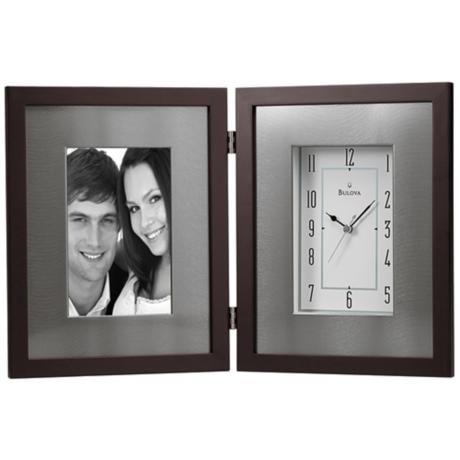 "Winfield 15"" Wide Picture Frame Bulova Desk Clock -"