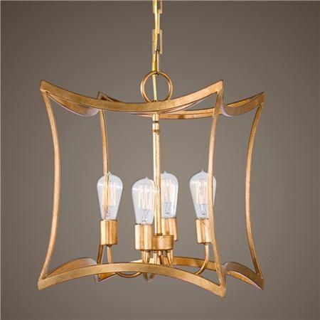 Elegant Gold Leaf Square Lantern