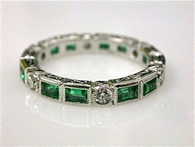 Emerald and Diamond Eternity Band. Beautiful.