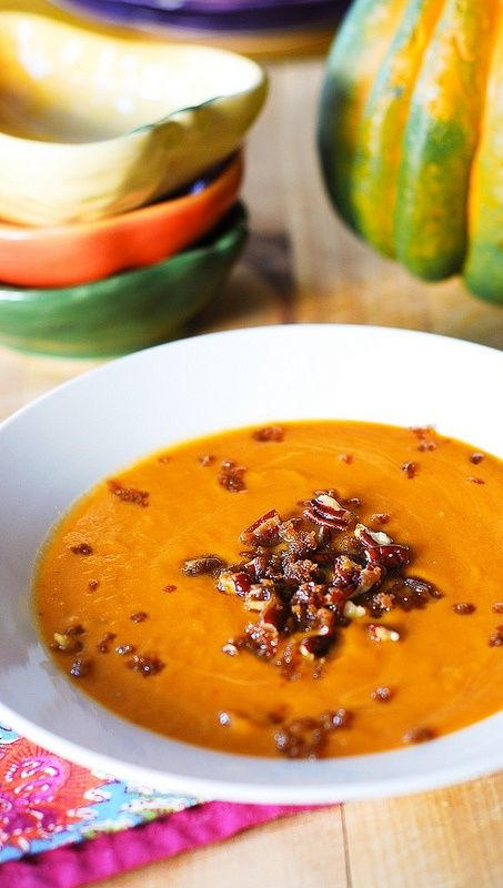 Savory pumpkin soup with chopped pecans caramelized in brown sugar.  Perfect for Thanksgiving! JuliasAlbum.com | gluten free, vegan, healthy Thanksgiving recipes, pumpkin recipes