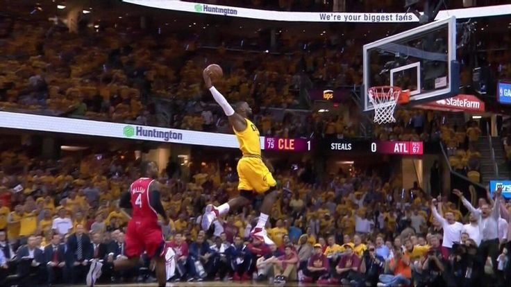 Look how high Lebron jumped  to do this dunk