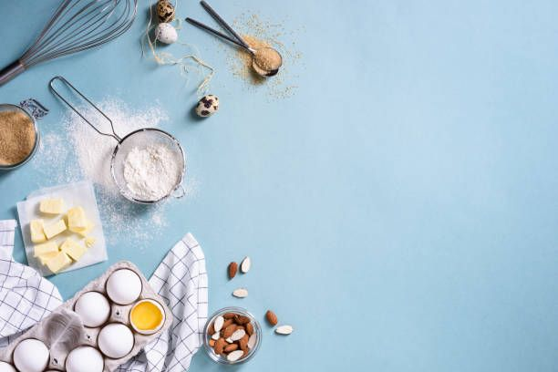 healthy baking ingredients flour almond nuts butter eggs biscuits a