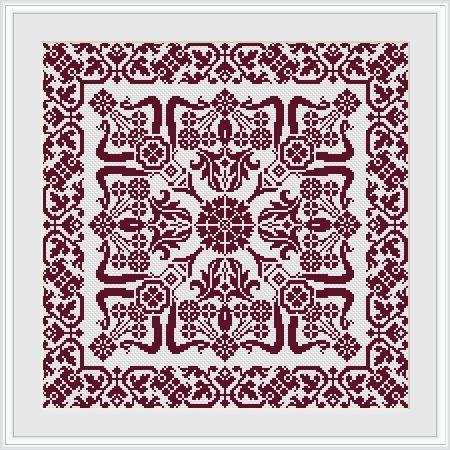 Decorative square Miki Cross stitch pattern PDF