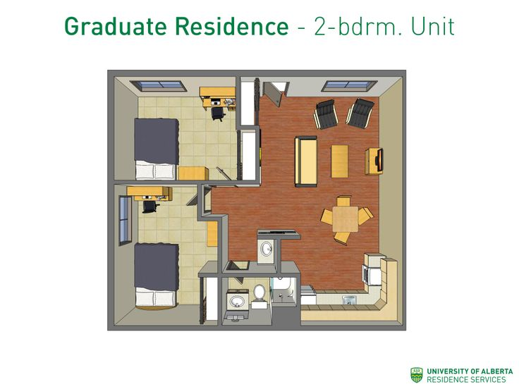 A 2-bedroom unit layout. Note that there are different layouts for some units types.