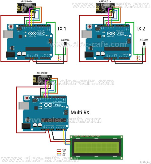 Multiple Nodes nRF24L01+ Wireless Temperature DS18B20 with Arduino UNO (2 Transmitter , 1 Receiver)