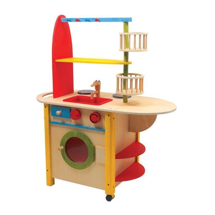 Cocina de #madera muy completa, con lavadora, horno, microondas y fregadero. Este juguete de #madera educativo muy colorido favorece el juego simbólico #educacion #padres #niños