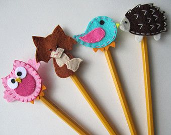 Animal Pencil Topper Set, Owl, Bird, Fox, Hedgehog, Felt Pencil Topper, Classroom Treat Bag, Party Favor, Back to School, pset04
