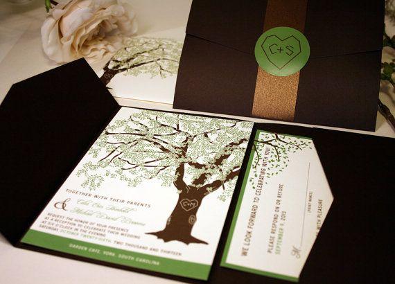 SAMPLE of Grandfather Oak Tree Pocketfold Wedding Invitations, Rustic and Modern on Etsy, $3.00