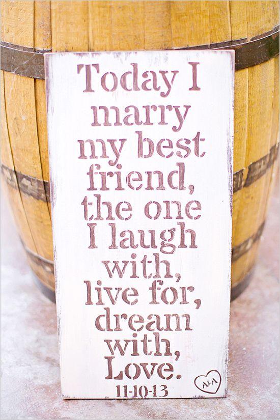 today i marry my best friend sign #weddingsign #rusticwedding #weddingchicks http://bit.ly/1r0KY7H
