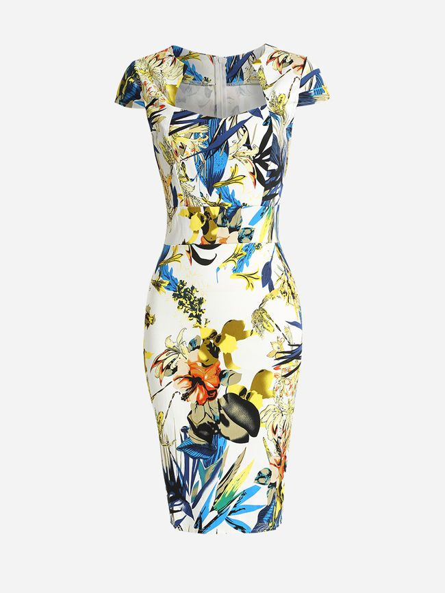 Sweet Heart Dacron Floral Printed Bodycon Dress