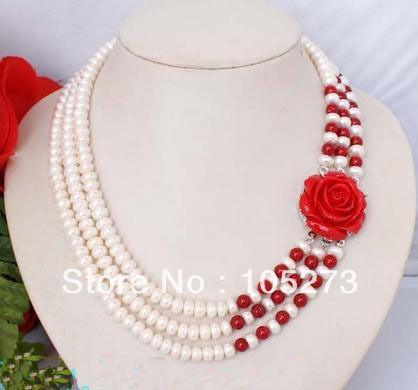 """Nieuwe arriver edelsteen sieraden mode 3 strengen rode koraal witte zoetwater parel 6-8mm hars bloem ketting 18- 20"""" groothandel"""