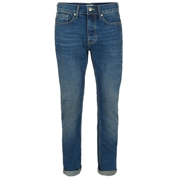 TOPMAN Mid Blue Vintage Wash Stretch Skinny Jeans ($39) ❤ liked on Polyvore featuring men's fashion, men's clothing, men's jeans, men, pants, trousers, blue, topman mens jeans, mens skinny fit jeans and mens button fly jeans
