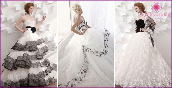 Czarne i białe suknie ślubne - model 2015 i związane z nimi akcesoria ze zdjęciami