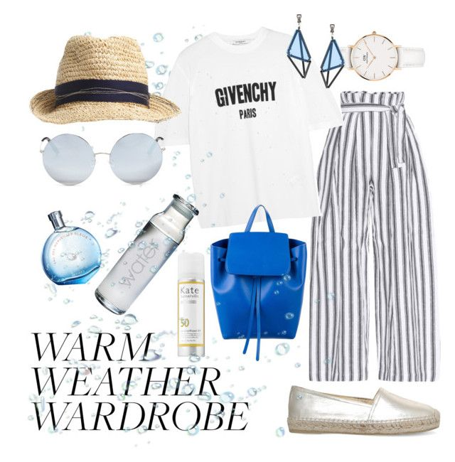 """""""Warm weather wardrobe"""" by paslar-galina ❤ liked on Polyvore featuring Three Graces, Givenchy, Mansur Gavriel, Matthew Williamson, Daniel Wellington, Kate Somerville, Hermès, Yves Saint Laurent and Issey Miyake"""