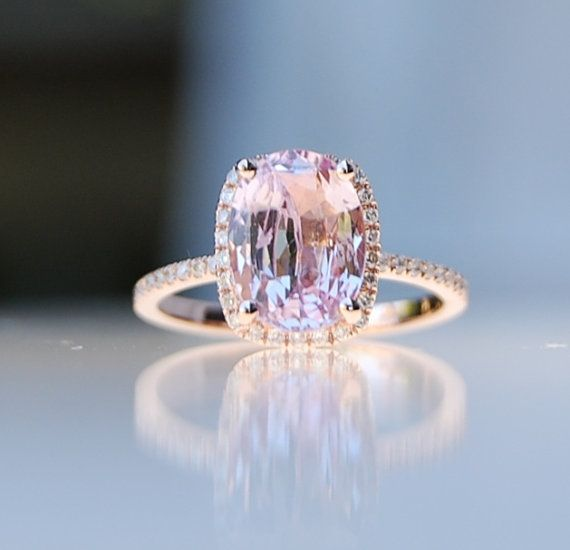2.75ct Cushion raspberry peach champagne sapphire 14k rose gold diamond ring engagement ring