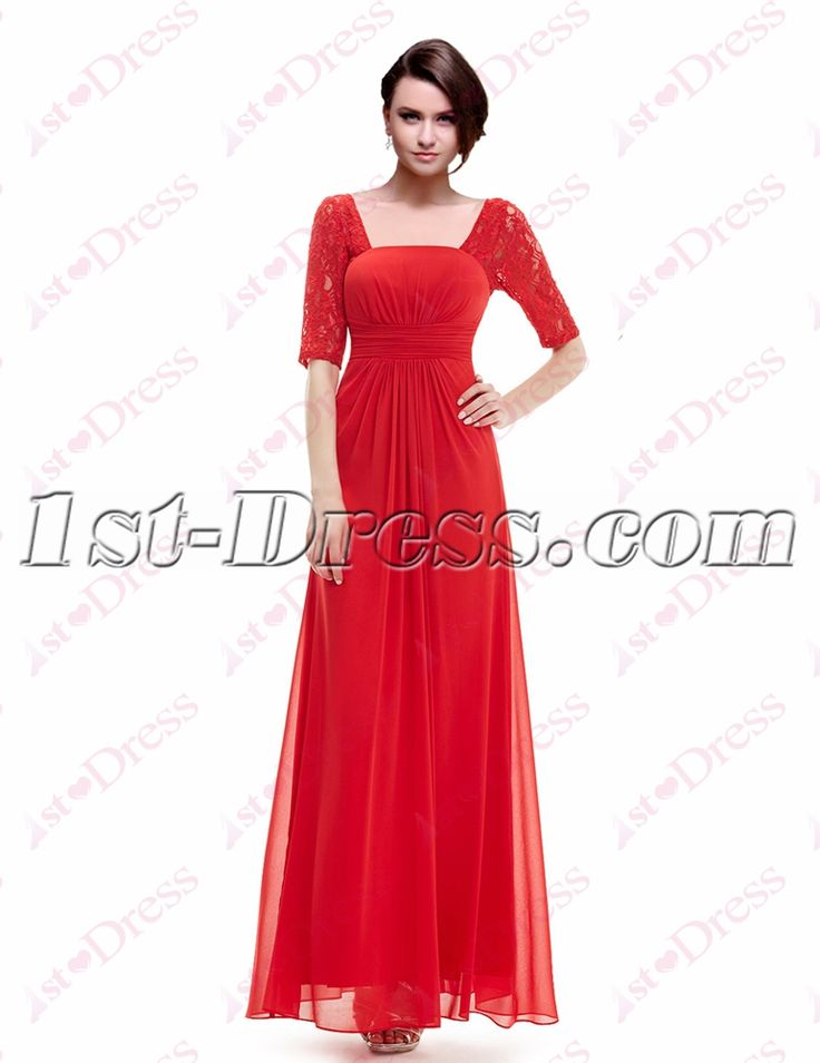 1st-dress.com Offers High Quality Simple Red Lace Graduation Party Dress with 1/2 Long Sleeves,Priced At Only US$148.00 (Free Shipping)