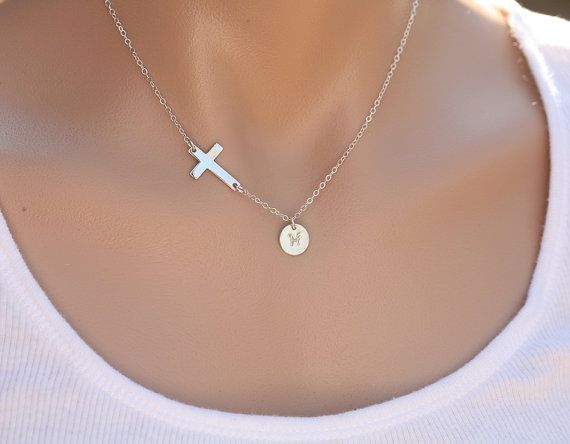 Sideways cross necklace with initial charmInitial by tydesign