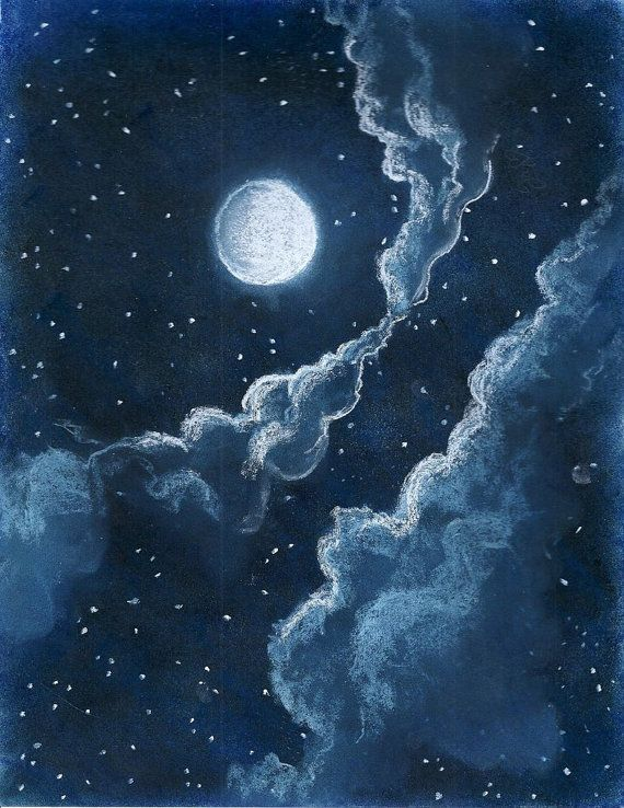 Original Pastel Drawing Illustration of Starry Blue Night Sky With Moon and Clouds Downloadable Digital File   https://www.etsy.com/listing/179897278/original-pastel-drawing-illustration-of?ref=shop_home_active_2