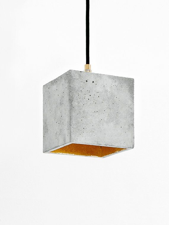 Concrete hanging cubic lamp with gold gilding on the inside | minimalist lighting
