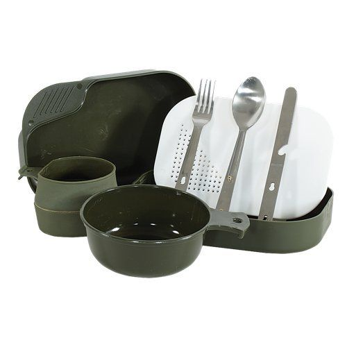 Voodoo Tactical Mil-Spec Camper's Mess Kit. For product info go to:  https://all4hiking.com/products/voodoo-tactical-mil-spec-campers-mess-kit/