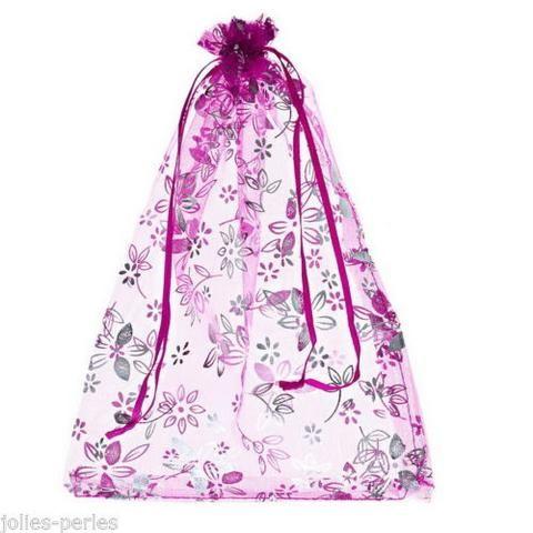 JP 125PCs 18cmx25cm Fuchsia Flower Organza Gift Bags Wedding/Christmas B81703