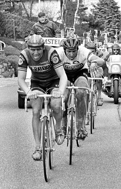 1977-1978 - TI-Raleigh - Hennie Kuiper and Francesco Moser in the Amstel Gold Race.   via Flickr