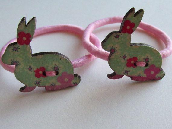 Pink Rabbit pony tail holder  rabbit hair bobbin by Buttonnuthin