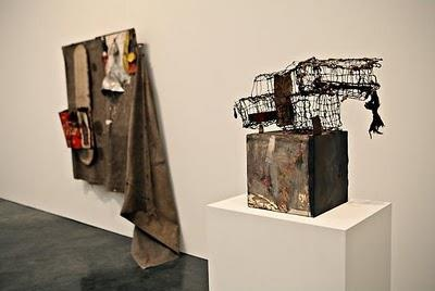 from left, Dylaby (Combine Painting), 1962, and Three Traps for Medea, 1959