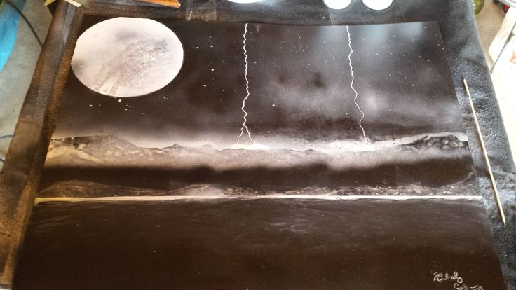 My second painting. Black and white with lightening