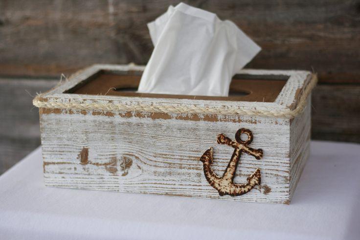Tissue box cover holder rustic shabby chic beach nautical ocean theme - Beach themed tissue box cover ...