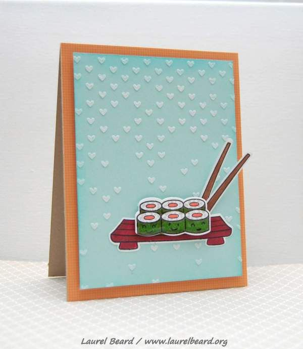 Sushi card using @Lawn Fawn and @Simon Says Stamp falling hearts stencil #embossingpaste @SpectrumNoir markers