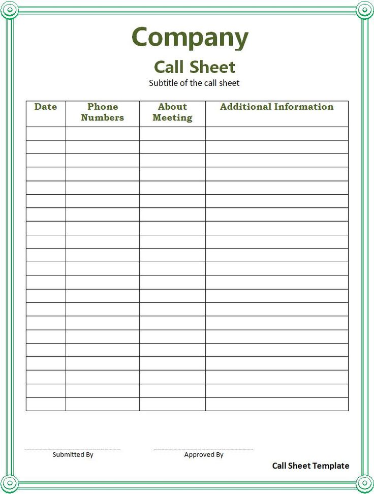 17 Best images about sign in sheets – Call Sheet Template Excel