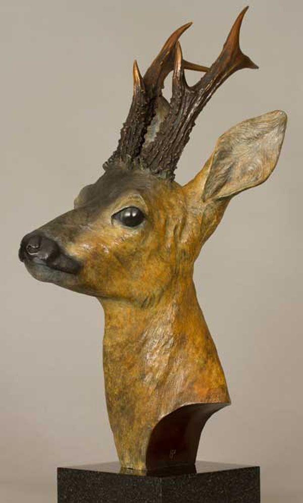 Bronze Field Sports, Game Birds and Game Animals sculpture by artist Bill Prickett titled: 'Roe Buck bust (bronze life size Deer statue/sculpture/Art for sale)'