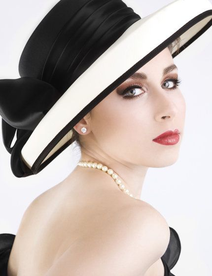 Hat by British designer Vivien Sheriff.Summer Hats, Chanel, Woman Fashion, Style, Black And White, Black White, White Hats, Derby Hats, Accessories