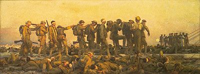 'Gassed' by John Singer Sargent. This was a painting showing the effect of the mustard gas witch made it very hard for the soldiers to do anything.