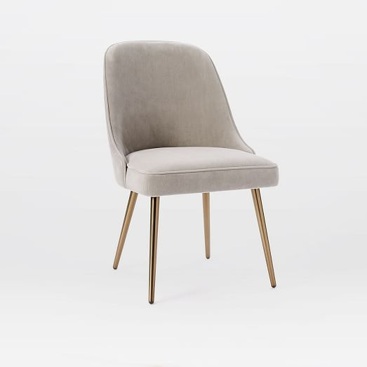 I love these DR chairs - great price too! Mid-Century Upholstered Dining Chair - Velvet | west elm