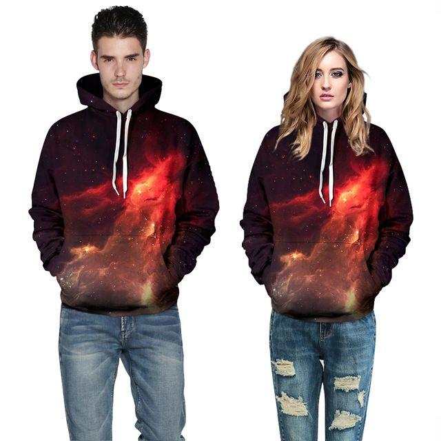 Sudaderas mujer 2015 3D Purple nebula printed hooded hoodies harajuku mr mrs chandal mujer thick winter vintage sport sweatshirt