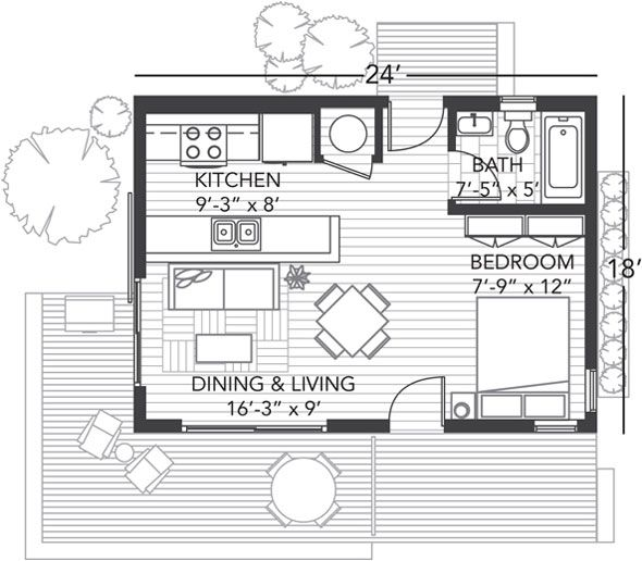 Here Is The Floor Plan For The Origin 24 House From Bluhomes