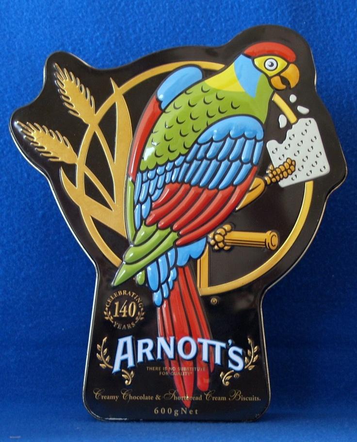 "ARNOTT'S BISCUIT "" CELEBRATING 140 YEARS PARROT TIN  "" Arnotts Tin"