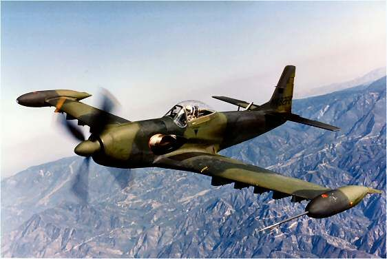 Piper PA-48 Enforcers. A valiant but forlorn attempt after their time, to redesign the basic North American P-51 airframe to a dive bomber/ground attack aircraft