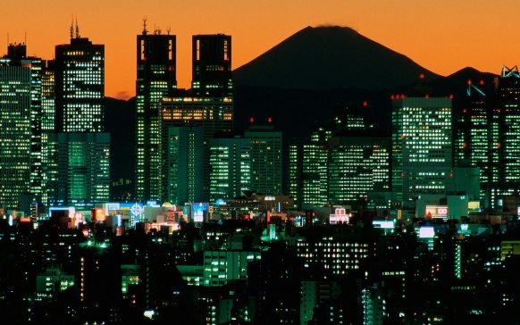 Mount Fuji as viewed across the Tokyo skyline