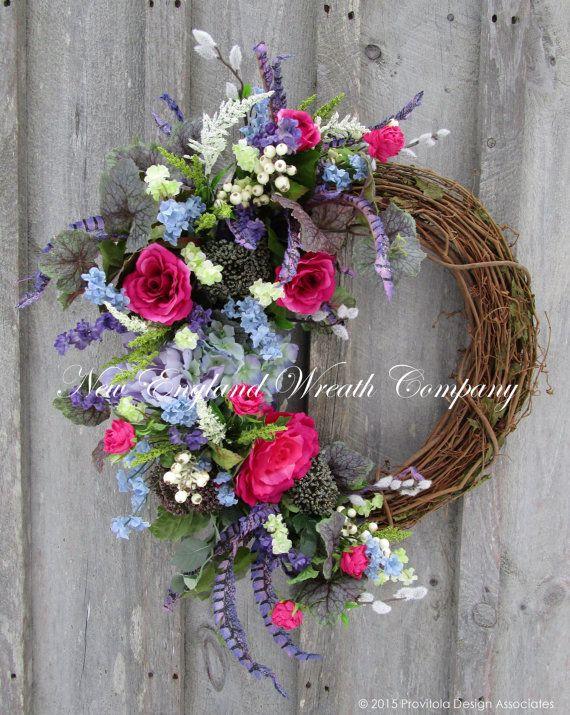 Spring Wreath, Easter Wreath, Floral Wreath, Designer Floral, Victorian Garden, Country French, Elegant Floral, Cottage Wreath, Hydrangea