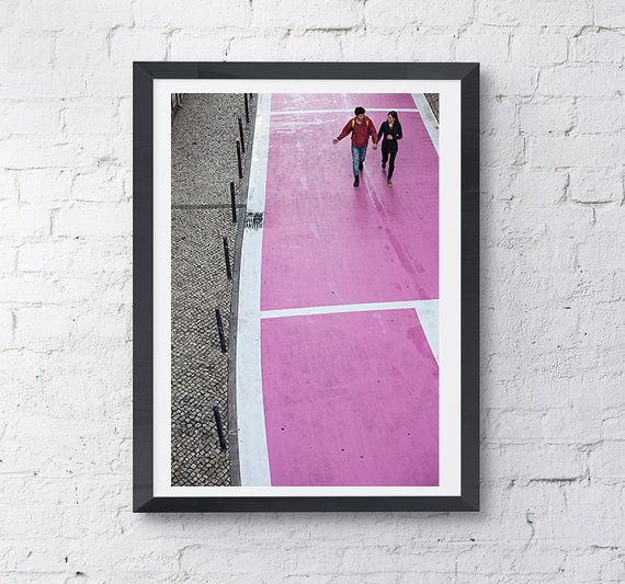 Pink Street in Lisbon 3/3 Strips Wall Design White by KatieLuka