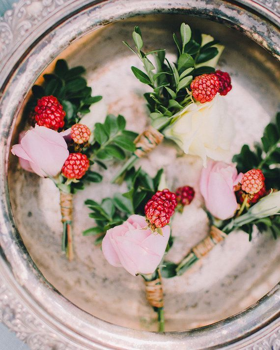 Roses and raspberries boutonnieres | Photo by Rachel May Photography |Have a garden theme wedding - Raspberry And Gold Wedding Colour for Garden Theme Dream Wedding | http://www.fabmood.com/raspberry-and-gold-wedding-colour #gardenwedding #gardentheme #weddingtheme