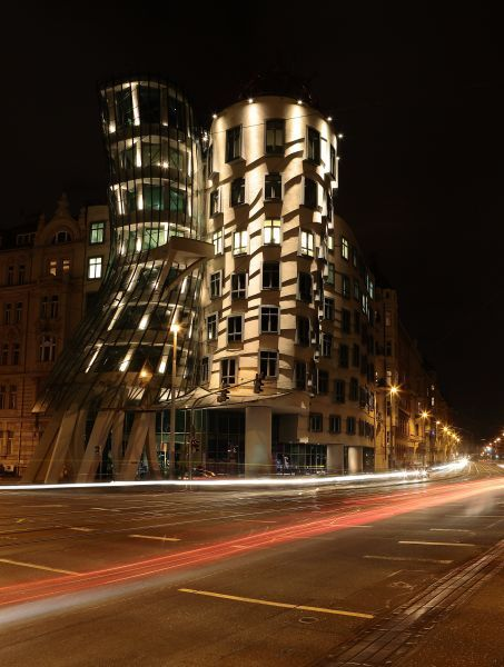 Dancing House - At Night - The house was nicknamed Fred and Ginger after famous dancers Fred Astaire and Ginger Rogers. The nickname did not stick, but the restaurant on the top floor is called 'Ginger and Fred' in homage.