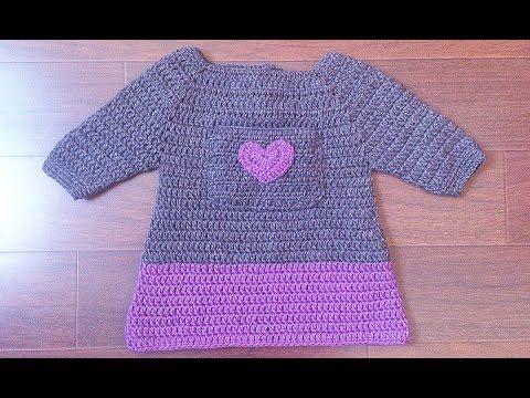 Vestido niña en dos colores con bolsillo - Parte 1 - YouTube