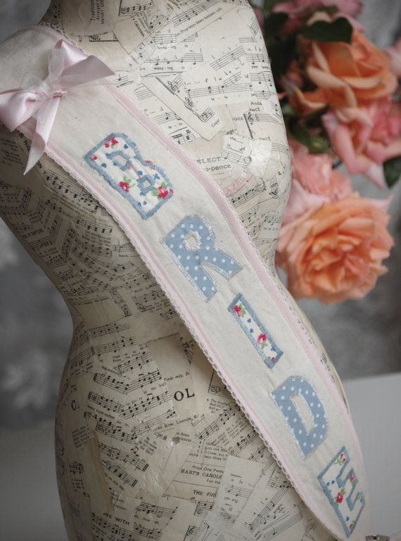 Bride Vintage Style Fabric Sash by vintagetwee on Etsy